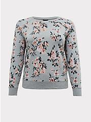 Plus Size Heather Grey Floral Fleece Raglan Sweatshirt, FLORAL - GREY, hi-res