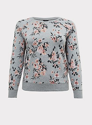 Plus Size Heathered Grey Floral Fleece Raglan Sweatshirt, FLORAL - GREY, flat