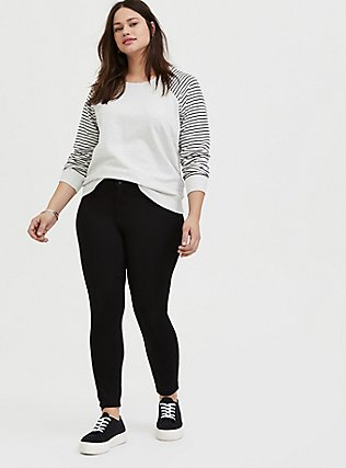 Plus Size Oatmeal Fleece & Stripe Raglan Sweatshirt, STRIPES, alternate