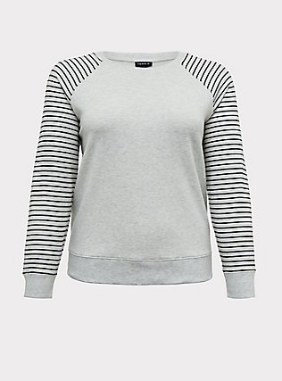Plus Size Oatmeal Fleece & Stripe Raglan Sweatshirt, STRIPES, flat