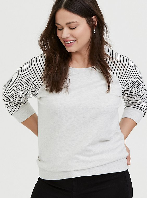 Oatmeal Fleece & Stripe Raglan Sweatshirt, , hi-res