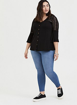Super Soft & Lace Black Bell Sleeve Button Top, DEEP BLACK, alternate