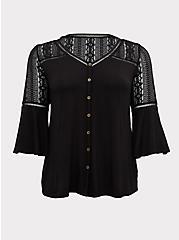 Super Soft & Lace Black Bell Sleeve Button Top, DEEP BLACK, hi-res