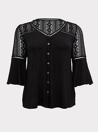 Super Soft & Lace Black Bell Sleeve Button Top, DEEP BLACK, flat