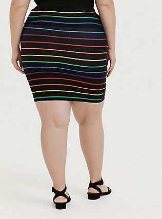 Black & Rainbow Stripe Foldover Mini Skirt, STRIPE-BLACK, alternate