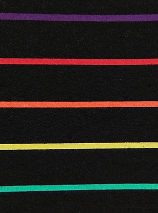 Black & Rainbow Stripe Foldover Mini Skirt, STRIPE-BLACK, alternate