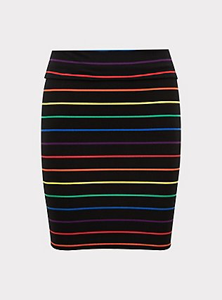 Black & Rainbow Stripe Foldover Mini Skirt, STRIPE-BLACK, flat