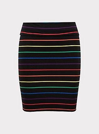 Plus Size Black & Rainbow Stripe Foldover Mini Skirt, STRIPE-BLACK, flat
