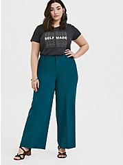 Dark Teal Structured Wide Leg Pant, DEEP TEAL, alternate