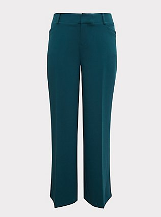 Dark Teal Structured Wide Leg Pant, DEEP TEAL, flat