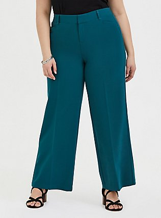 Dark Teal Structured Wide Leg Pant, DEEP TEAL, hi-res