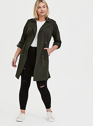 Olive Green Twill Open-Front Anorak, ROSIN, alternate
