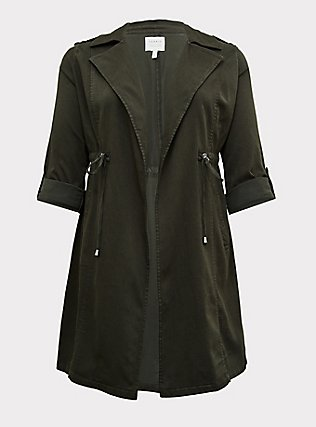 Olive Green Twill Open-Front Anorak, ROSIN, flat