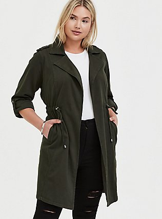 Olive Green Twill Open-Front Anorak, ROSIN, hi-res