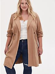 Plus Size Beige Twill Open Front Anorak, CAMEL, alternate