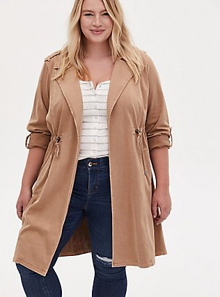 Tan Twill Open Front Anorak, CAMEL, alternate