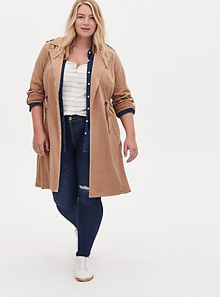 Plus Size Tan Twill Open Front Anorak, CAMEL, hi-res