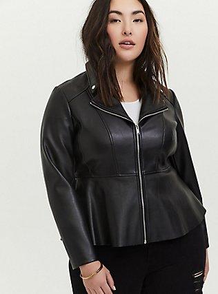 Black Faux Leather Peplum Moto Jacket, DEEP BLACK, alternate