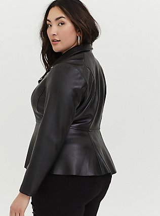 Black Faux Leather Peplum Moto Jacket, DEEP BLACK, alternate