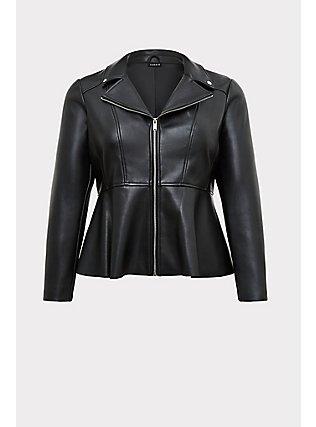 Black Faux Leather Peplum Moto Jacket, DEEP BLACK, flat