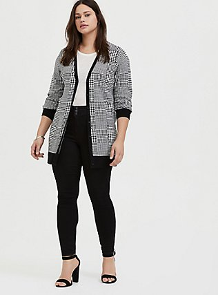 Plus Size Plaid Houndstooth Slub Cardigan, PLAID - BLACK, alternate