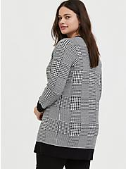 Plaid Houndstooth Slub Cardigan, PLAID - BLACK, alternate