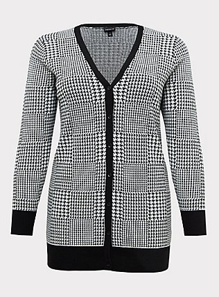 Plus Size Plaid Houndstooth Slub Cardigan, PLAID - BLACK, flat