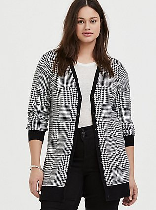 Plus Size Plaid Houndstooth Slub Cardigan, PLAID - BLACK, hi-res