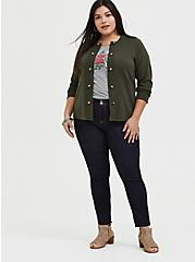 Plus Size Olive Green Sweater-Knit Military Jacket, DEEP DEPTHS, alternate