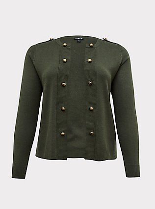 Plus Size Olive Green Sweater-Knit Military Jacket, DEEP DEPTHS, flat
