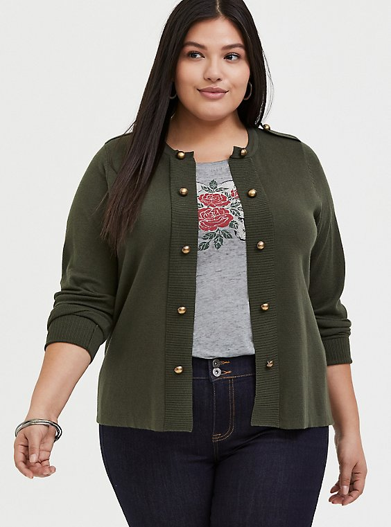 Plus Size Olive Green Sweater-Knit Military Jacket, , hi-res