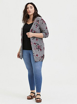 Plus Size Heathered Grey Floral Slub Button Front Cardigan, FLORAL - GREY, alternate