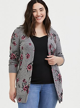 Plus Size Heathered Grey Floral Slub Button Front Cardigan, FLORAL - GREY, hi-res