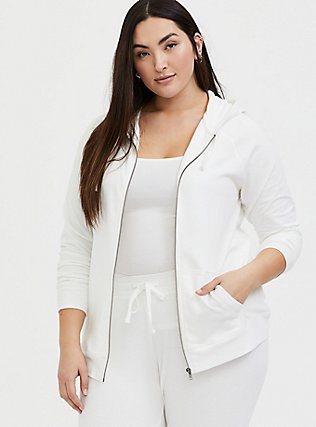 Plus Size Wifey White Terry Zip Hoodie, CLOUD DANCER, alternate