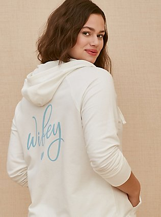 Plus Size Wifey White Terry Zip Hoodie, CLOUD DANCER, pdped
