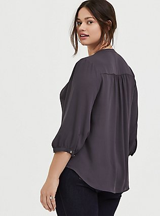 Slate Grey Georgette Pussycat Bow Blouse, SMOKED PEARL, alternate