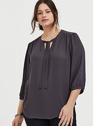Slate Grey Georgette Pussycat Bow Blouse, SMOKED PEARL, hi-res