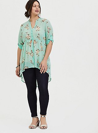Lexie - Mint Blue Floral Chiffon Babydoll Tunic, FLORAL - GREY, alternate