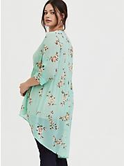 Lexie - Mint Blue Floral Chiffon Babydoll Tunic, FLORAL - GREY, alternate