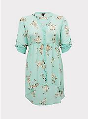 Lexie - Mint Blue Floral Chiffon Babydoll Tunic, FLORAL - GREY, hi-res