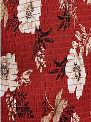 Red Terracotta Floral Crinkled Gauze Midi Babydoll Top, FLORAL - RED, alternate