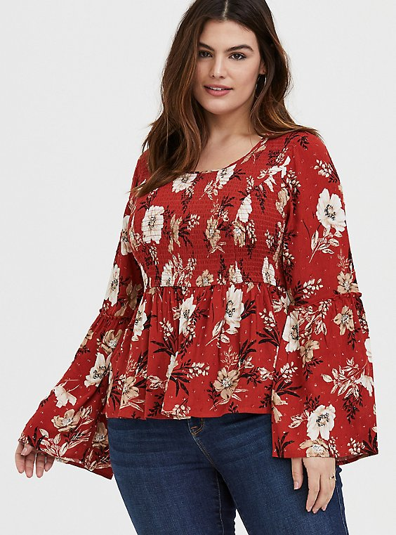 Plus Size Red Terracotta Floral Crinkled Gauze Midi Babydoll Top, , hi-res