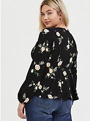 Black Floral Crepe Surplice Midi Peplum Blouse, FLORAL - BLACK, alternate