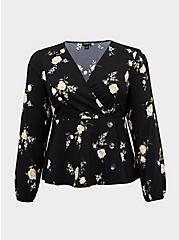 Black Floral Crepe Surplice Midi Peplum Blouse, FLORAL - BLACK, hi-res
