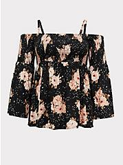 Black Floral Challis Cold Shoulder Top , FLORAL - BLACK, hi-res