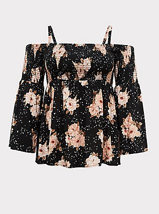 Plus Size Black Floral Challis Cold Shoulder Top , FLORAL - BLACK, flat