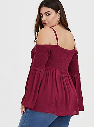 Plus Size Red Wine Challis Cold Shoulder Blouse, BEET RED, alternate