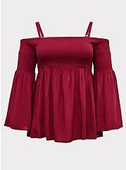 Red Wine Challis Cold Shoulder Blouse, BEET RED, hi-res