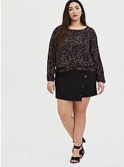 Black Leopard Heart Challis Twist Front Crop Blouse, PAISLEY-BLACK, alternate