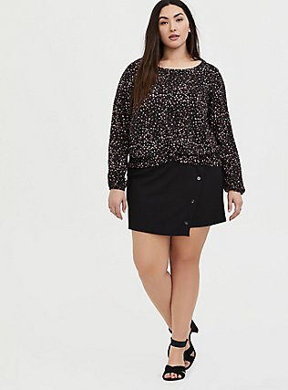Plus Size Black Leopard Heart Challis Twist Front Crop Blouse, PAISLEY-BLACK, alternate